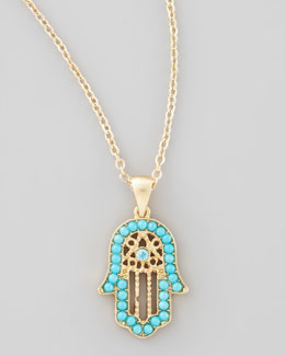Nico New York Beaded Hamsa Necklace, Turquoise