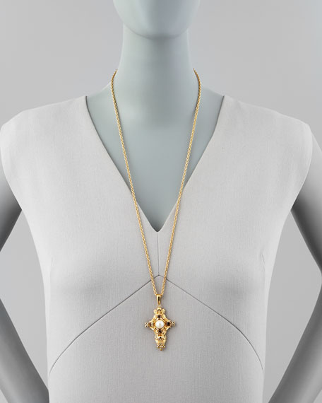 Pearl & Skull Cross Pendant Necklace