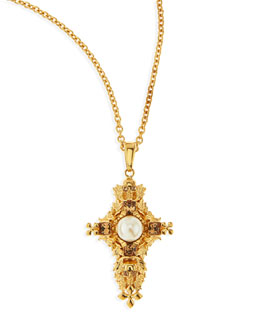 Alexander McQueen Pearl & Skull Cross Pendant Necklace