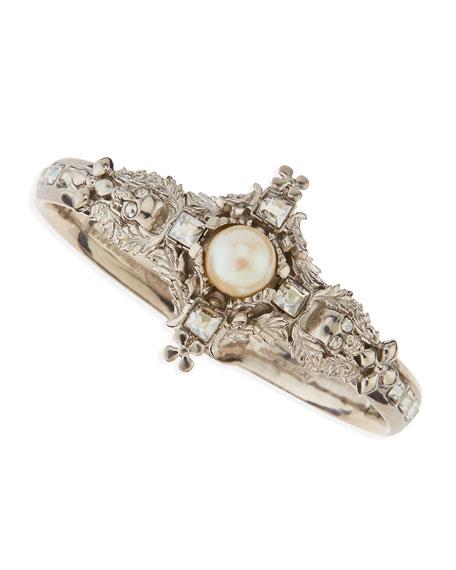 Pearl & Skull Cross Bracelet
