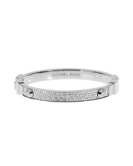 Michael Kors  Pave Hinge Bangle, Silver Color