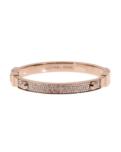 Pave Hinge Bangle, Rose Golden