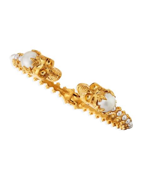 Hinged Pearl Skull Bracelet, Golden