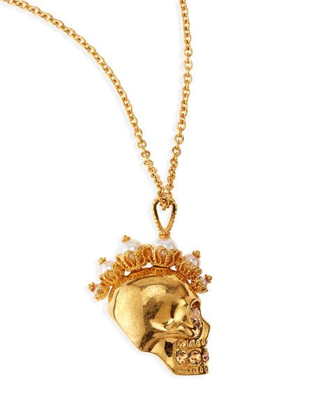 Punk Skull Pearl Pendant Necklace, Golden