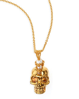 Alexander McQueen Punk Skull Pearl Pendant Necklace, Golden