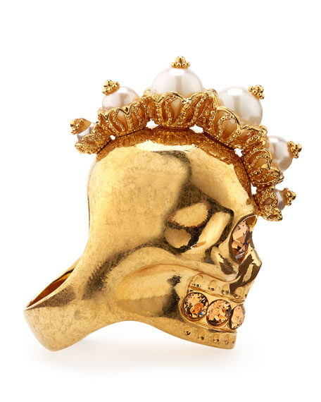 Punk Skull Pearl Ring, Golden