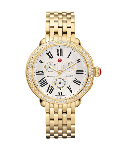 MICHELE Serein Diamond Yellow Golden Watch Head & Bracelet Strap