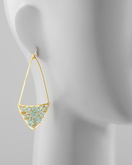 Beaded Kite Hoop Earrings, Turquoise