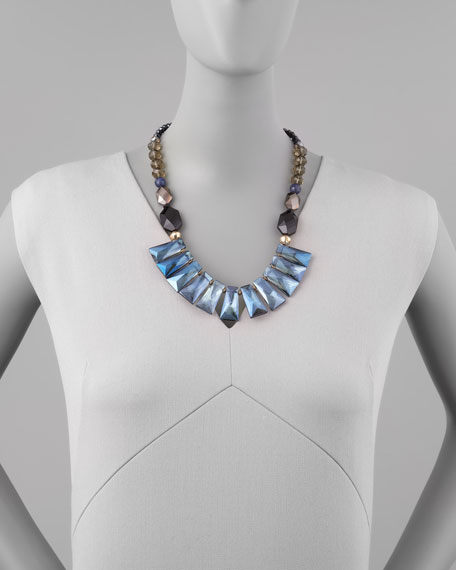 Iridescent Crystal Bib Necklace, Blue Multi