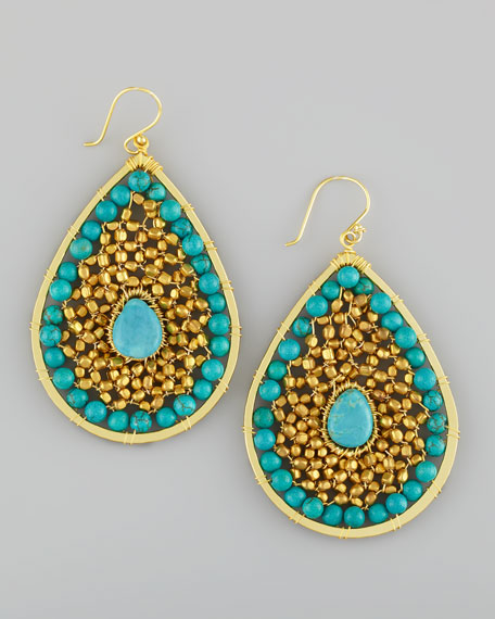 Beaded Center-Stone Teardrop Earrings, Gold/Turquoise