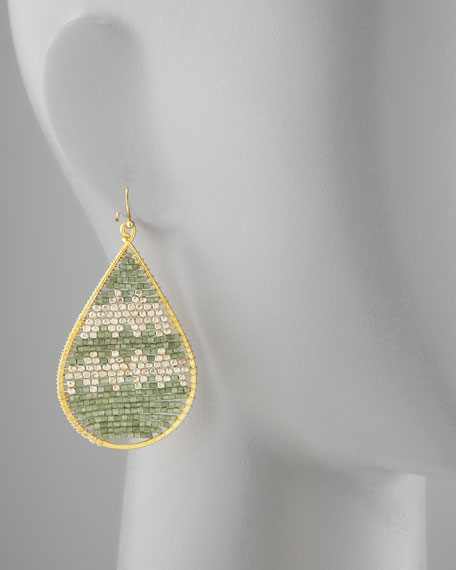 Beaded Teardrop Earrings, Mint