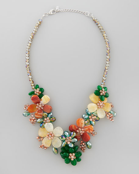 Iridescent Beaded Flower Necklace