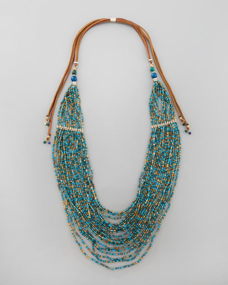 Tiered Multi-Strand Bead Necklace, Turquoise