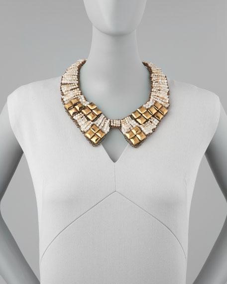 Beaded Bib Collar Necklace, Gold/Tan