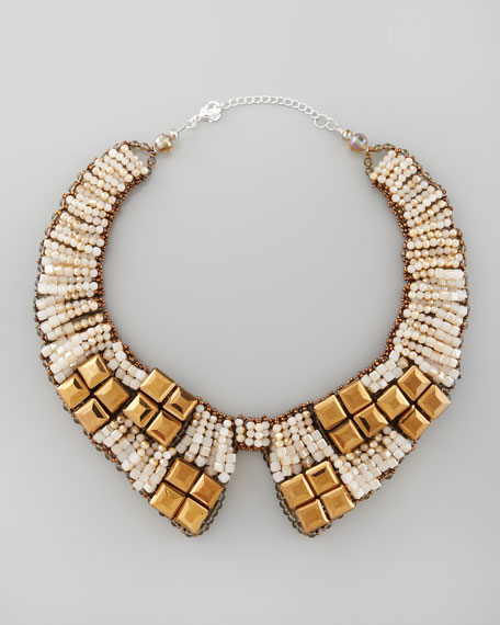 Beaded Bib Collar Necklace, Gold/Tan