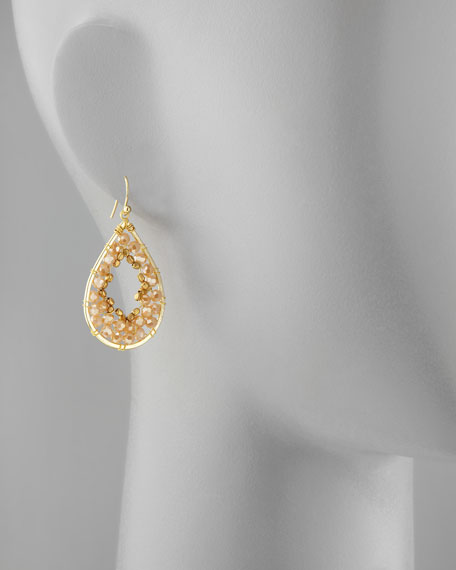 Beaded Mini Teardrop Earrings, Gold/Tan