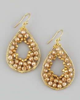 Nakamol Beaded Mini Teardrop Earrings, Gold/Tan