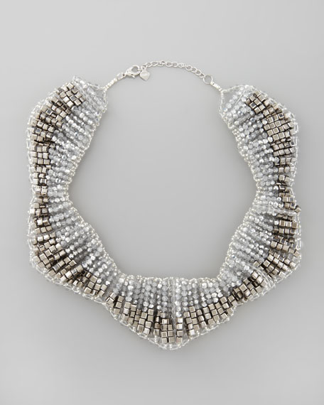 Hexagonal Beaded Bib Necklace, Silver