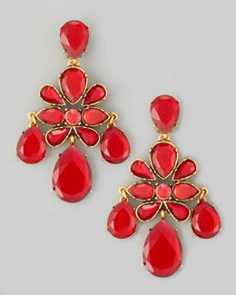Oscar de la Renta Crystal Chandelier Earrings, Cinnabar