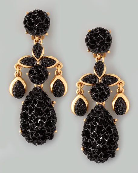 Carved Drop Earrings, Black