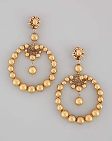 Beaded Open Circle Earrings, Golden