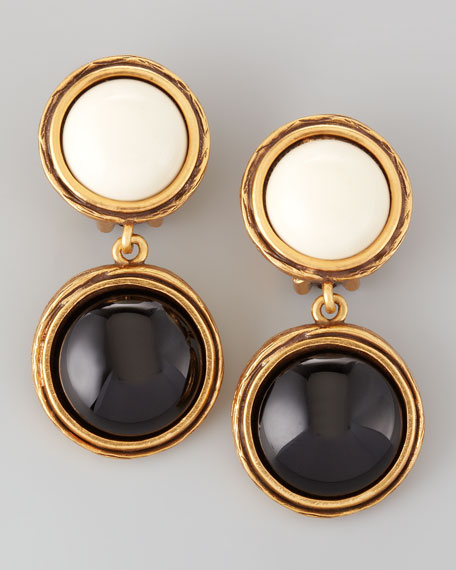 Double-Drop Earrings, Black/White