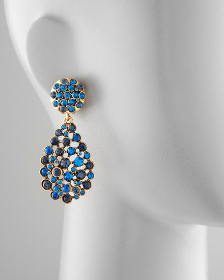Multi-Stone Teardrop Earrings, Cobalt
