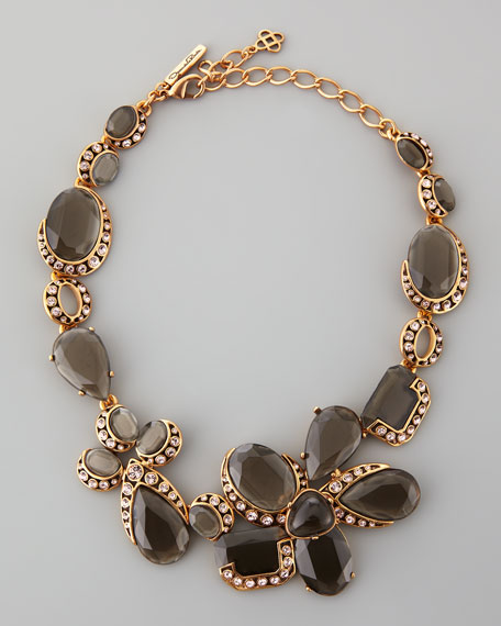 Flower Crystal Necklace, Gray