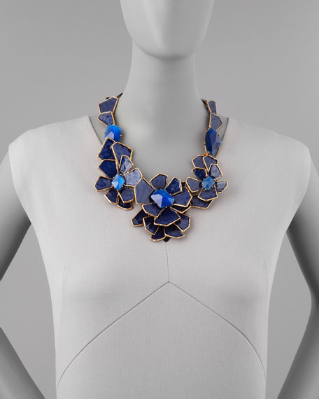 Geometric Floral Bib Necklace, Blue