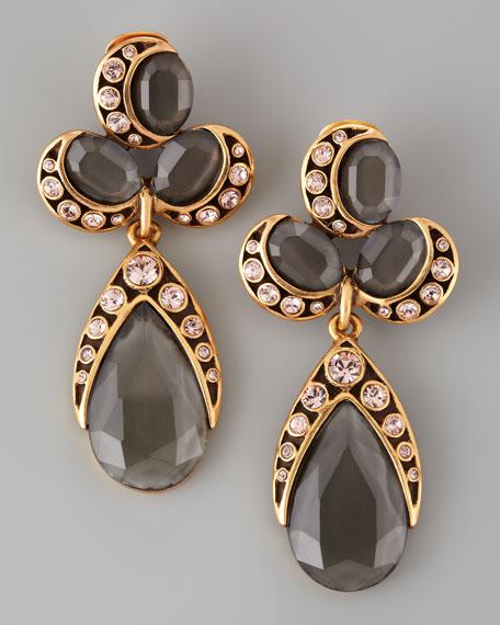 Faceted Cluster Teardrop Earrings, Gray/Pink