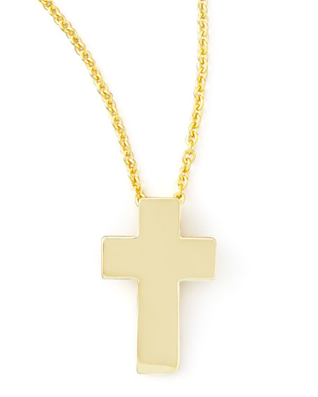 Roberto Coin Small 18k Yellow Gold Cross Necklace Neiman