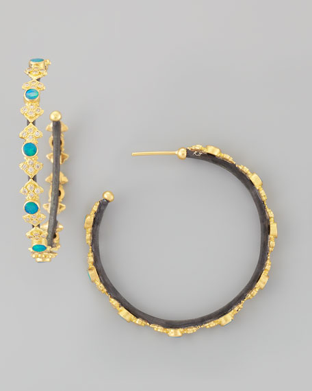 Midnight Opal & Diamond Cravelli Cross Hoop Earrings