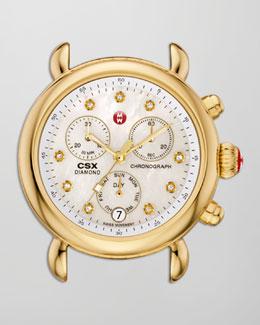 MICHELE CSX-36 Diamond-Dial Chronograph Watch Head, Golden