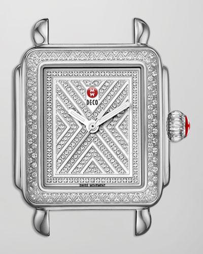 MICHELE Limited Edition Deco Diamond-Dial Watch Head, Steel