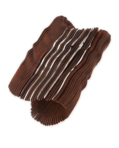 "4"" Leather Cuff Bracelet, Brown"