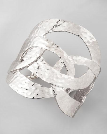 Cutout Hammered Cuff, Silvertone