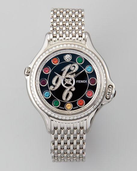 Crazy Carats Black Dial Pave Diamond Topaz & Diamond Watch, White/Multicolor/Pink