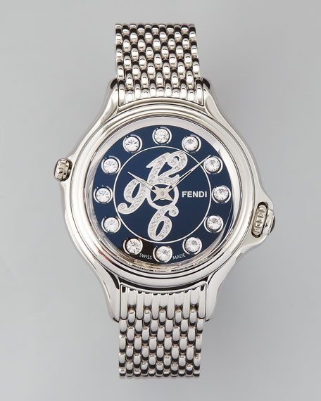 Blue Dial Crazy Carats Topaz & Diamond Watch, White/Multicolor/Pink