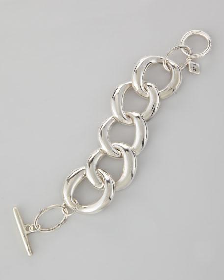 Large-Link Toggle Bracelet, Silvertone