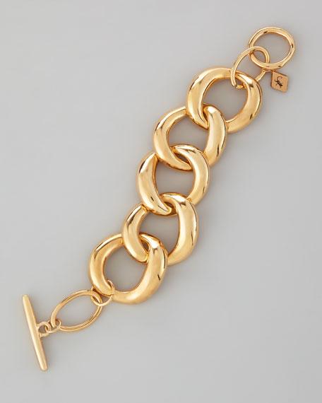 Large-Link Toggle Bracelet, Golden