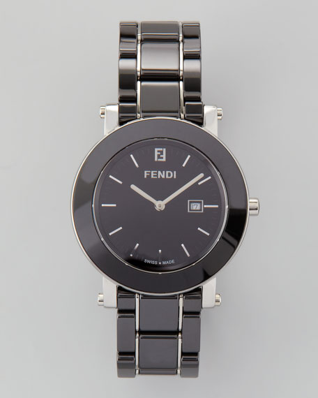 Ceramic Stainless Steel Round Watch, Black