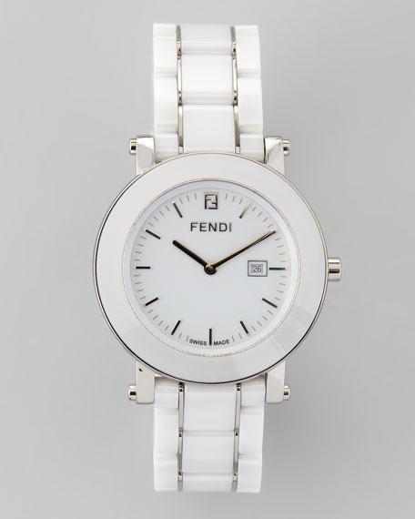 Ceramic Stainless Steel Round Watch, White
