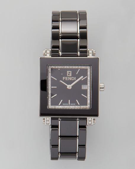 Ceramic Diamond Stainless Steel Square Watch, Black