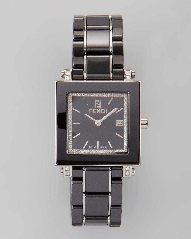 Fendi Ceramic Diamond Stainless Steel Square Watch Black