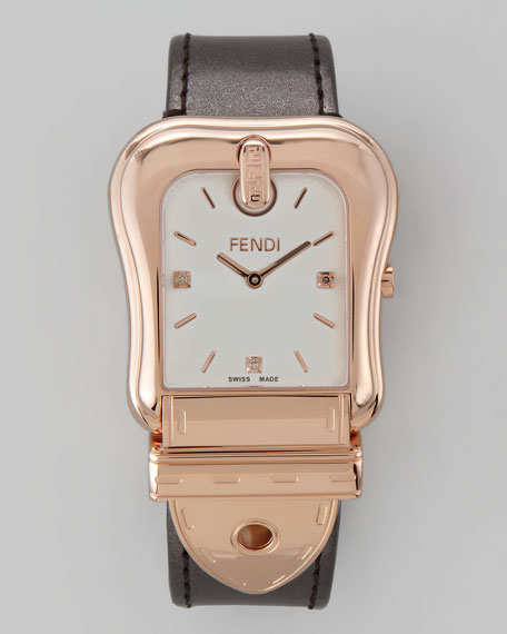 "Diamond Rose ""B"" Fendi Watch, Gunmetal Strap"