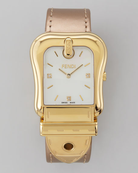 "Diamond Golden ""B"" Fendi Watch, Golden Strap"