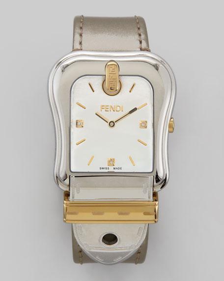 """Diamond Two-Tone """"B"""" Fendi Watch, Silvertone Strap"""