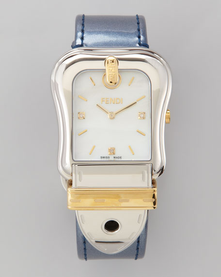 "Diamond Two-Tone ""B"" Fendi Watch, Violet Strap"