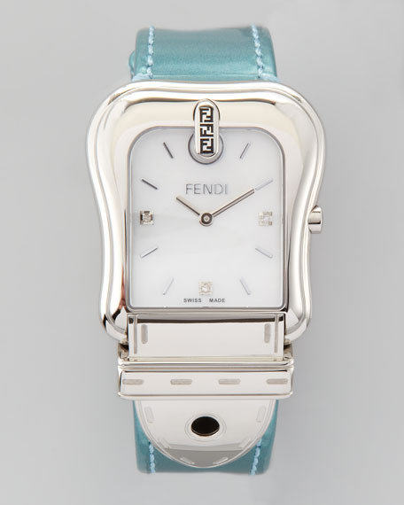 "Diamond Stainless Steel ""B"" Fendi Watch"