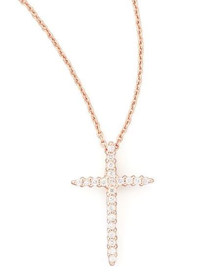roberto coin 18k rose gold diamond cross necklace. Black Bedroom Furniture Sets. Home Design Ideas